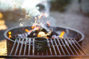 Coffee mug on a grill