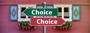 street signs with choice written on them