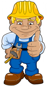 Cartoon worker holding thumbs up