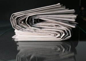 Stacked old newspaper