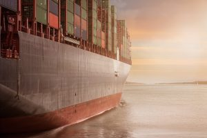 Cargo ship on sunset