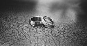 Wedding rings on the floor