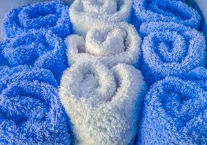 soft blue and white towels