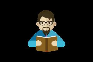 Cartoon man holding a book