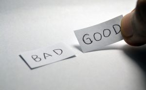 Bad and good words on table