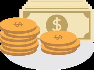 Cartoon money and coins