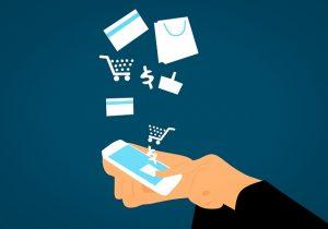Online shopping via phone.