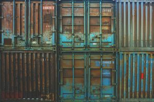 Containers for shipping.