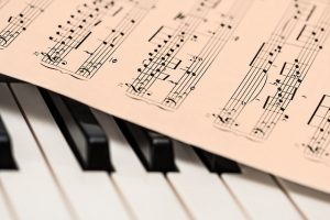Piano and music notes.