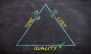 Triangle of money, costs and quality of moving company.
