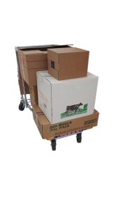 Trolley with lot of boxes.