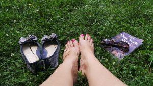 Feet, shoes, book