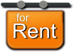 """""""For rent"""" sign."""