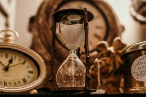 An antique hourglass.