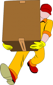 Man carrying a moving box.