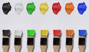 Brushes with different colors.