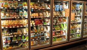 A fridge in a supermarket.