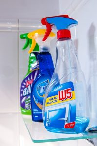 Cleaning supplies for keeping your home clean while moving.