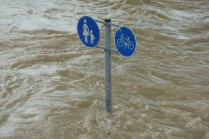 A flooded traffic sign.