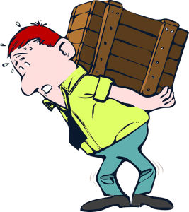 Drawing of a man carrying a box.
