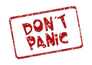 Don't panic sign.