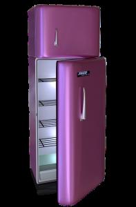 An empty purple fridge.