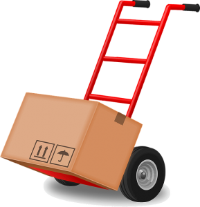 a box on a red dolly with wheels