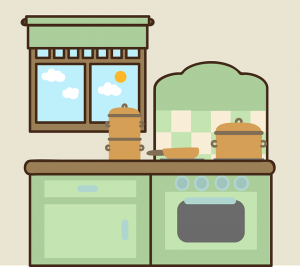 A picture of a kitchen and a stove.