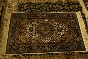 A large rug on the floor.