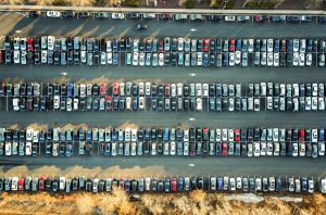 a lot of cars in a parking lot