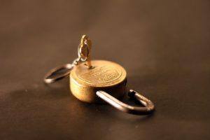 A padlock and a key.