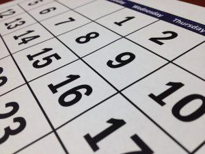 a calendar photographed up close