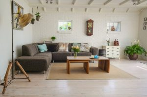 A modern, simple living room. Keeping the house clean will make your new place feel more like home