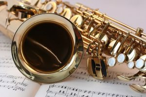 Zoomed in saxophone - when you packing musical instruments like this one, you should carefully wrap them.
