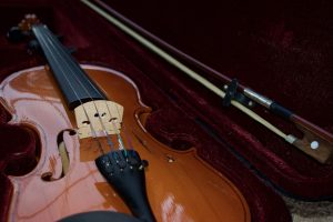 A violin in its case - cases are very useful when you're packing musical instruments