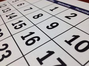 a zoomed photo of a calendar calendar