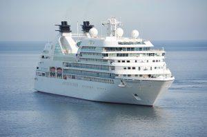 a cruiser on a blue sea