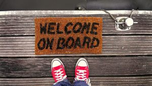 Mat that says welcome on board