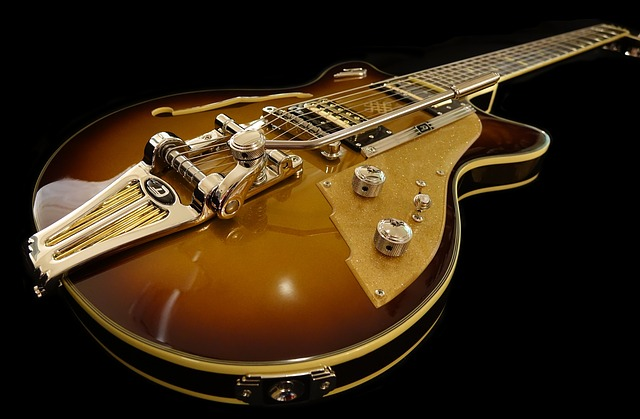 A guitar waiting for shipping musical instruments internationally