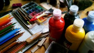 Pencils, pens and other painting tools