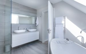 A white bathroom. Clean your bathroom on the first day after relocation to Kuwait