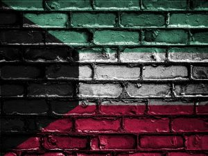 Kuwait flag on the wall