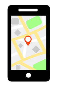 a mobile phone with a GPS location