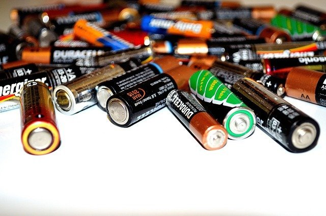 batteries of white surface