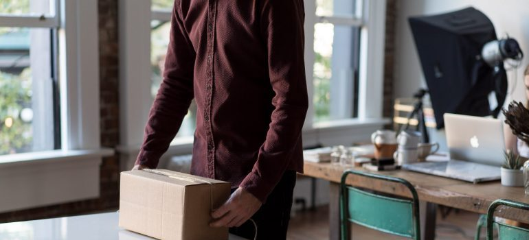 packing a cardboard box