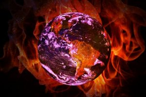 Planet earth caught in flames