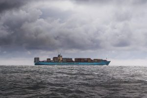 Cargo ship on a bad weather