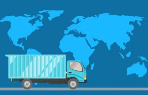 Illustration of a truck and a world map