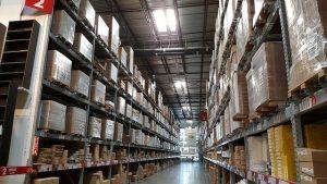 A warehouse racks