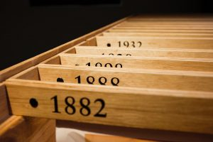 Wooden crates with numbers
